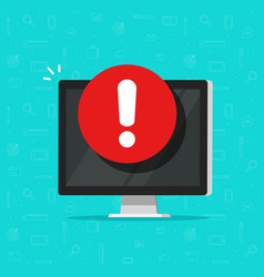 Computer with alarm or alert sign icon vector