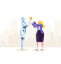 creative robot help businesswoman make solution vector image
