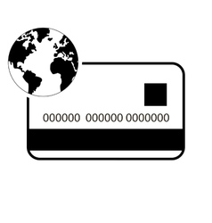 Credit or debit card and earth globe icon vector