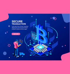 cryptocurrency isometric concept vector image