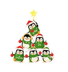 cute penguins form a christmas tree shape - funny vector image