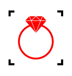 diamond sign red icon inside vector image