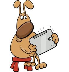 Dog with tablet cartoon vector