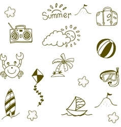 Doodle of Summer icon set vector