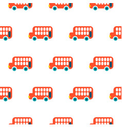 Double decker red bus kid seamless pattern vector