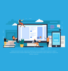 E-learning flat background vector