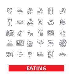 Eating food restaurant menu family cafe tasting vector
