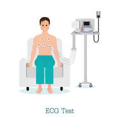 Ecg test or the cardiac test with patient vector