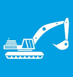 Excavator icon white vector