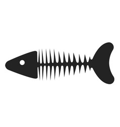 fish skeleton icon fishbone black silhouette vector image