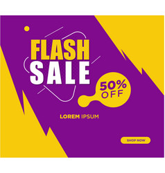 Flash sale discount banner template promotion vector