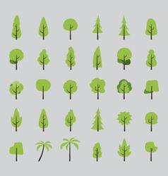 Flat design of tree set vector image