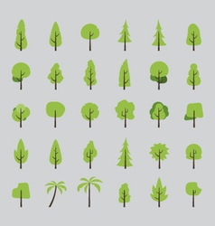 flat design tree set vector image