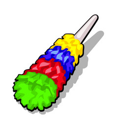 Fluffy colorful duster brush to clean the dust vector