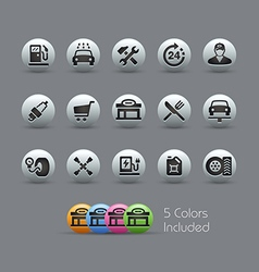 Gas Stations Icons Pearly Series vector