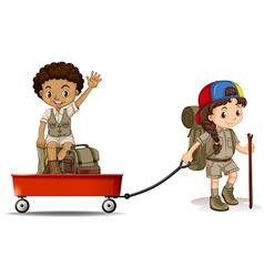Girl pulling cart with boy sitting on it vector