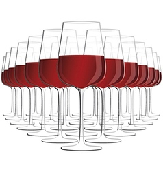 Glass of red wine isolated in white background vector