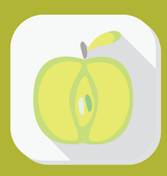 Green apple sign icon with long shadow fruit with vector