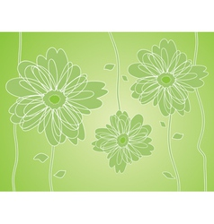 green flower silhouettes background vector image