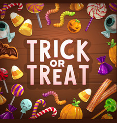 halloween trick or treat candies and sweets card vector image