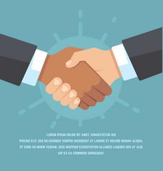 handshake of european and african american vector image