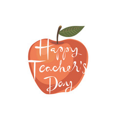 happy teachers day apple greeting card vector image