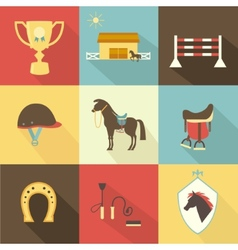 Horse and dressage icons vector