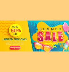 hot summer sale banner shop now with discounts vector image