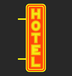 hotel luminous signboard against background of vector image