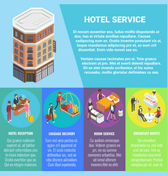 hotel service concept flat isometric poster vector image