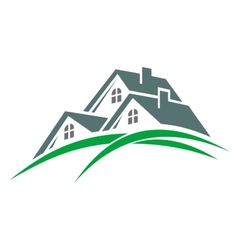 Houses in a green eco environment vector image