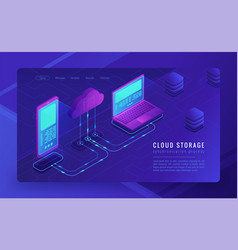 Isometric cloud storage landing page concept vector