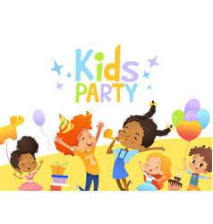 Joyous multiracial kids in birthday hats and vector