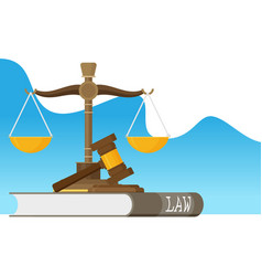 justice scales and wooden judge gavel law hammer vector image