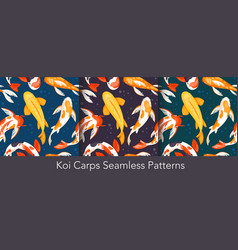 koi carp fishes seamless set asian underwater vector image