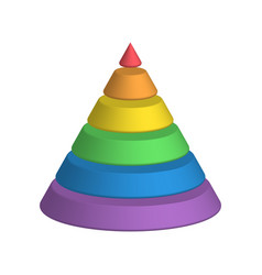 layered cone 3d conical pyramid of 6 multicolored vector image