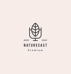 leaf podcast logo hipster retro vintage icon for vector image
