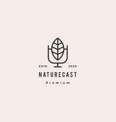 leaf podcast logo hipster retro vintage icon vector image
