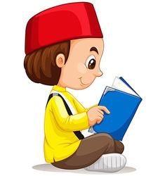 Little boy reading a book vector