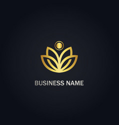 lotus flower nature gold logo vector image