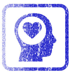 Love thinking head framed textured icon vector