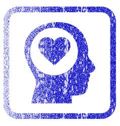 Love thinking head framed textured icon vector