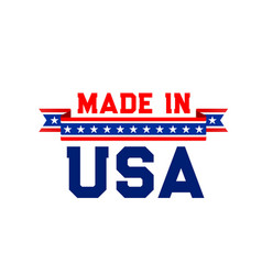 Made in usa label with united state flag ribbon vector