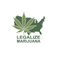 Marijuana leaf on usa map vector