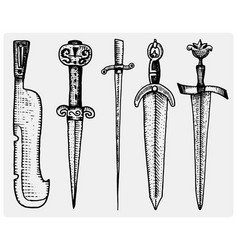 Medieval symbols big set of swords knife and mace vector