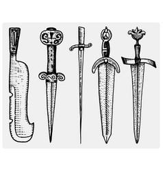 medieval symbols big set swords knife and mace vector image