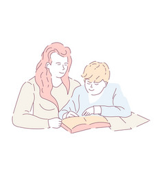 Mother and son doing homework book and copybook vector