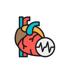 Obesity heart visceral fat heart attack flat vector