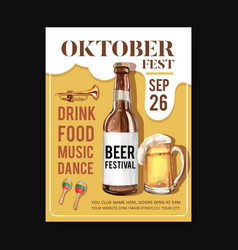 Oktoberfest poster with isolated musical vector