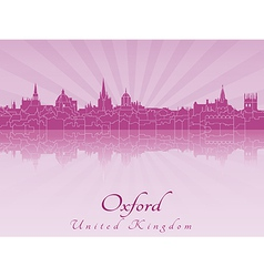 Oxford skyline in purple radiant orchid vector image